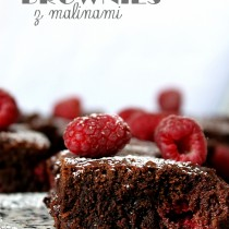 brownies z malinami